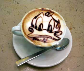 Donald Duck latte art cool