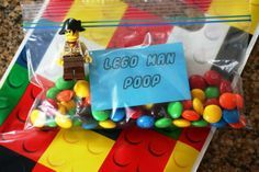 """Lego birthday party ideas--Hilarious idea. Download """"Lego Man Poop"""" template and print. Throw in with baggie of M Easy, funny, and fun."""