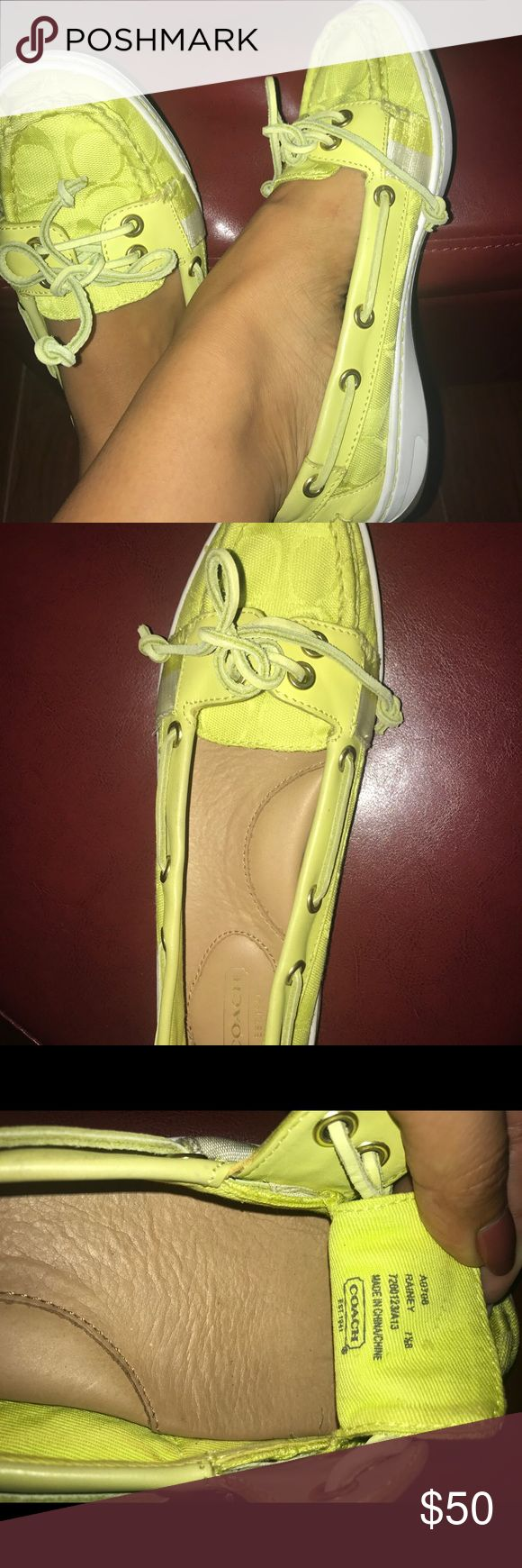Coach flats Coach lime green flat worn once like brand new so comfortable and a unique piece Coach Shoes Platforms