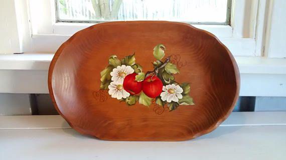 Vintage Large Oval Wood Bowl Tray Platter Apple