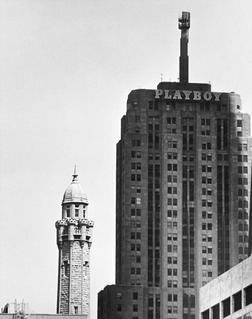 The Palmolive Building was called the Playboy Building from 1965 to 1989 when it was home to Playboy Enterprises. This view of the building is from North Michigan Avenue on April 27, 1983.