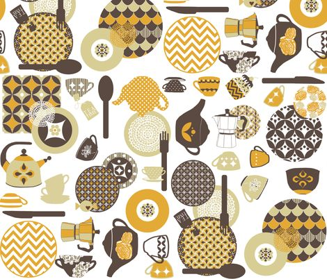 Retro Tea Time Fabric By Katarina On Spoonflower   Custom Fabric. Kitchen  CurtainsKitchen ...