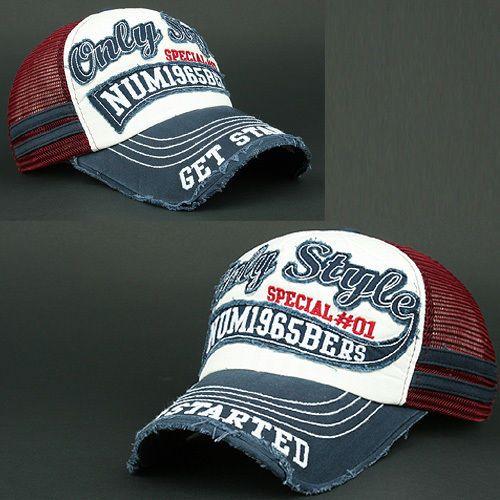 MESH Ball Cap NUM navy BLUE red Distressed Vintage Hat Baseball Trucker Unisex #BallCapBaseballCapUnisex