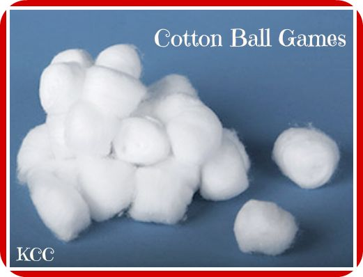 We have lots of game with cotton balls which are a great sensory activity for kids.