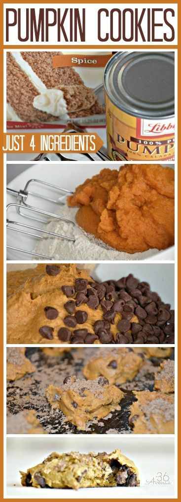 Super easy and delicious Pumpkin Cookies... Just FOUR ingredients! the36thavenue.com