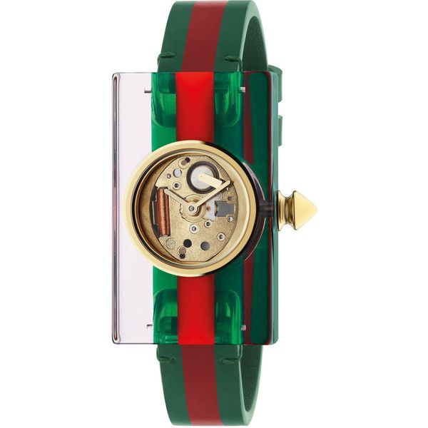 Gucci Plexiglas Watch With Green And Red Web, 24X40Mm ($615) ❤ liked on Polyvore featuring jewelry, watches, accessories, women, transparent watches, see through watches, snap jewelry, buckle watches and quartz movement watches
