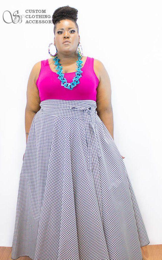 6f8489df5b7d Plus Size High Waist Maxi Skirt   Women plus size High Waist   plus size  Houndstooth 2 - 24 41- 42