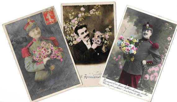 Antique French postcards  Set of 3 Young men with mustache and flowers portraits * Early XXth century photography * Old colorized pictures by ExcusemyFrenchShop on etsy.com