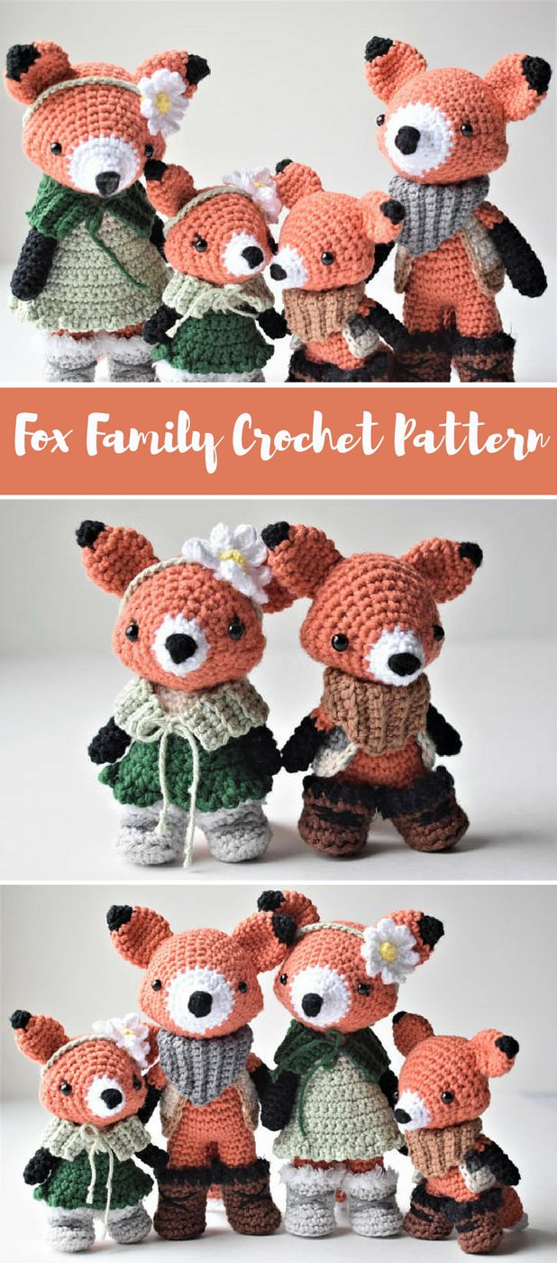 Fox family crochet pattern. Crochet this cute fox family! Photo tutorial. #ad #pdf #crochet #crochetfox #crochetpattern #crochet #amigurumipattern