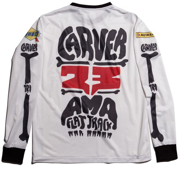 This is the regular fit long-sleeve t-shirt, designed with our TRI bare hands, for our special friend Jeff Carver from Illinois USA! Made with 220Gm polyester airtex jersey fabrication, stiched and printed at The Real Intellectuals atelier.  Find out more about Jeff Carver who is an AMA Pro Flat Track rider: http://www.amaproracing.com/ft/riders/rider_career.cfm?did=4094
