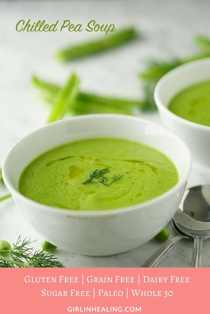 Green Pea Soup, Cold Soup, Gluten Free, Grain Free, Dairy Free, Paleo, Whole30, Sugar Free, Low Carb