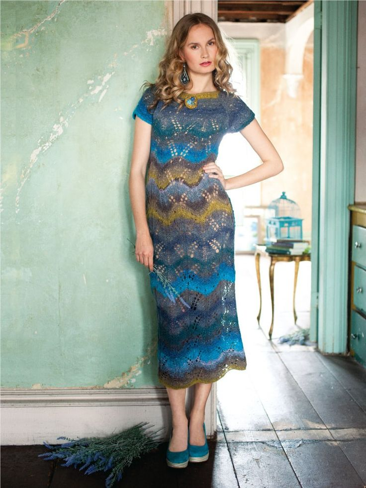 Noro Magazine - Lace Maxi Dress - Knitted chevron mohair maxi dress w/ cap sleeves in beautiful colours