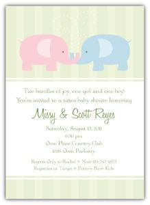 baby elephants boy girl twins baby shower invitation