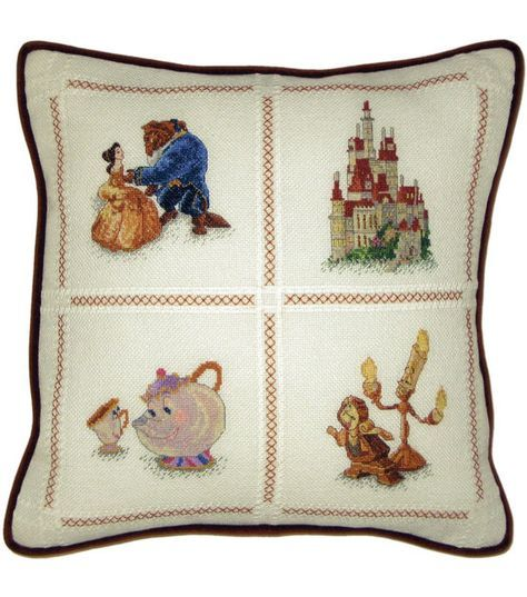 "Beauty & The Beast Pillow Counted Cross Stitch Kit-14""X14"" 18 Count at Joann.com"