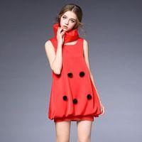 2016 nova verão sem mangas de cor sólida O pescoço Mini Vintage bonito vestido de baile vestido de festa linda de jogo elegante lenço vermelho OY60188