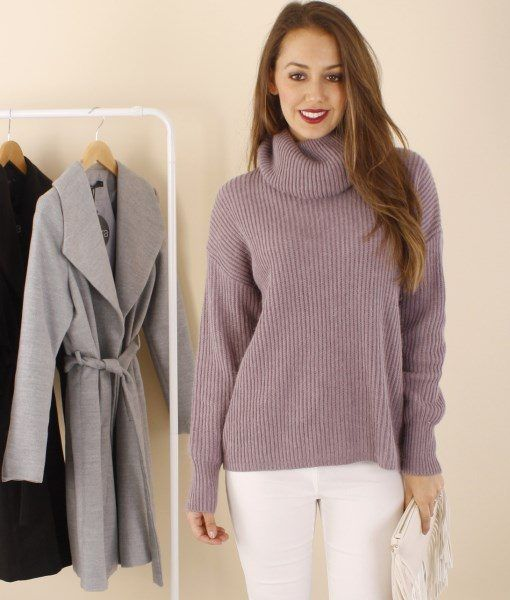 Lucy Roll Neck Ribbed Knit Jumper – Mauve $ 59.95 ribbed knit  •  jeans •  boots | f r e e   p o s t
