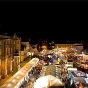Bury St Edmunds Christmas Market at night.