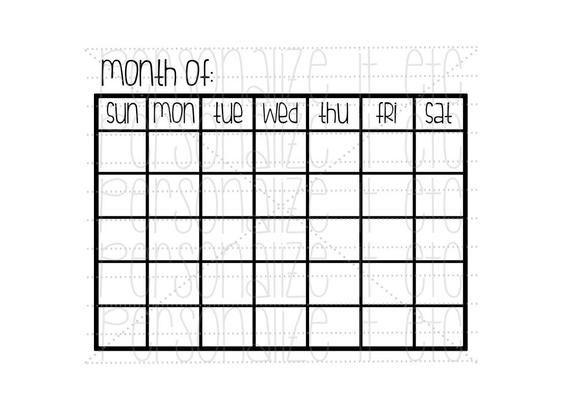 Calendar Svg File Month Of Svg Instant Download Use