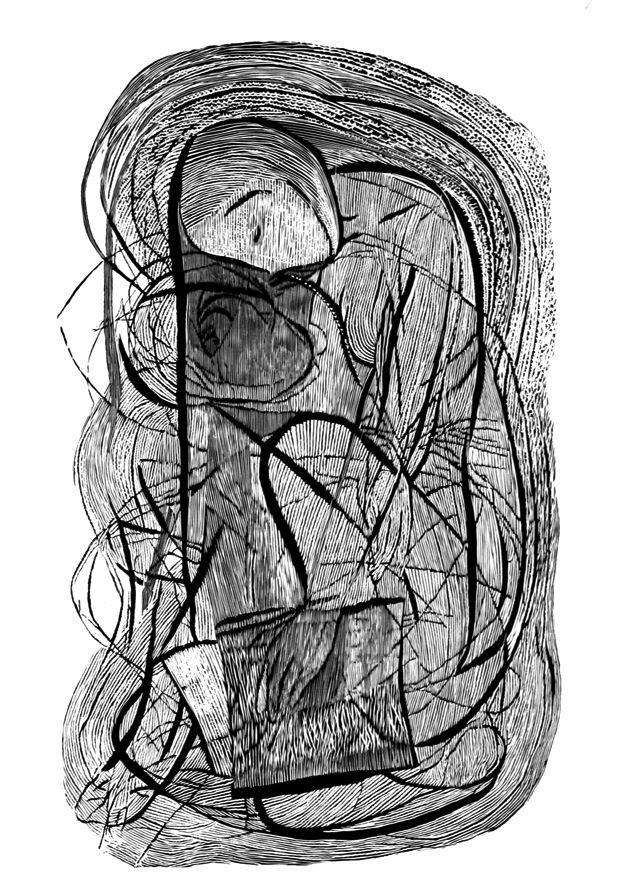 Emily Dickinson, 100x70cm linocut, 2013, Marta Bożyk