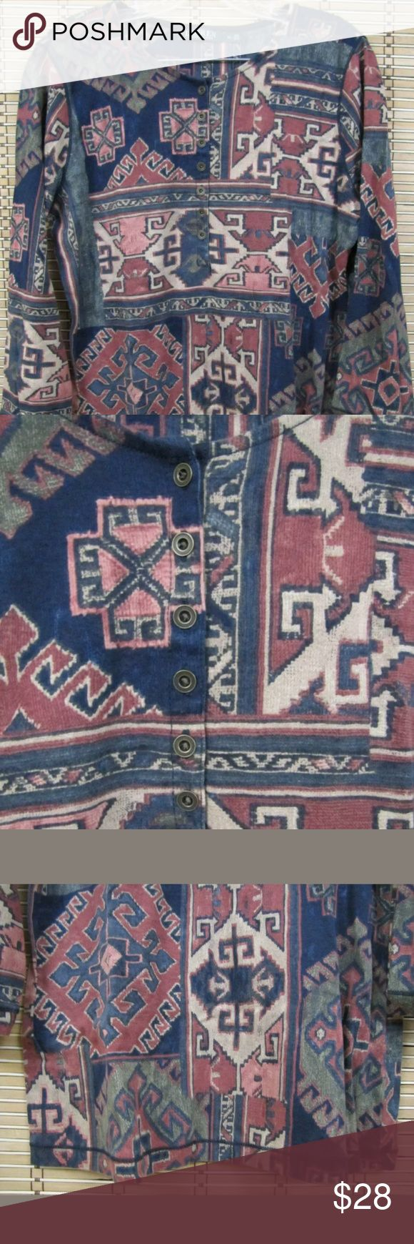 """Lauren Ralph Lauren Womens Sz XL Aztec Blouse Top Lauren Ralph Lauren Womens Sz XL Multi-Color 1/2 Button Up Aztec LS Blouse Top  Inventory #C040  This item is in Very Good Condition!  Multi-Colored, Aztec Pattern, Long Sleeve, 1/2 Button Up  100% Cotton  Multi-Colored  Size: Women's Sz XL  Pit to Pit (Across Chest):   19""""  Length (Top of Collar to Hem):   25""""  Sleeves (Shoulder to Shoulder) 19"""" Lauren Ralph Lauren Tops Blouses"""