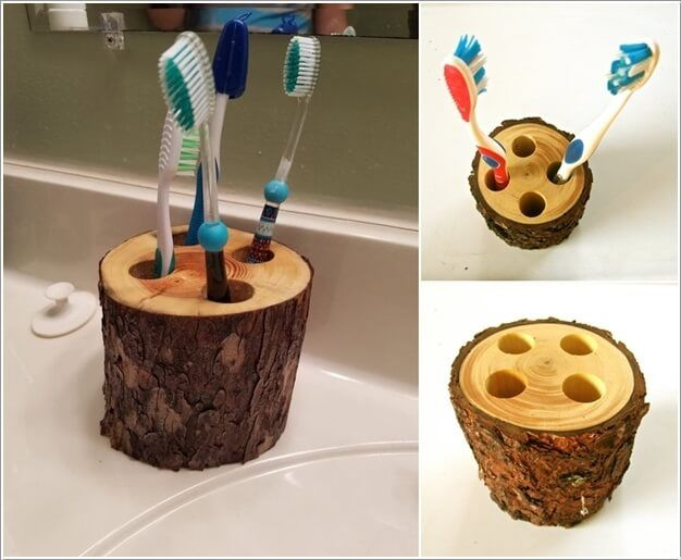 Make a Rustic Toothbrush Holder by Drilling Holes in a Piece of Log