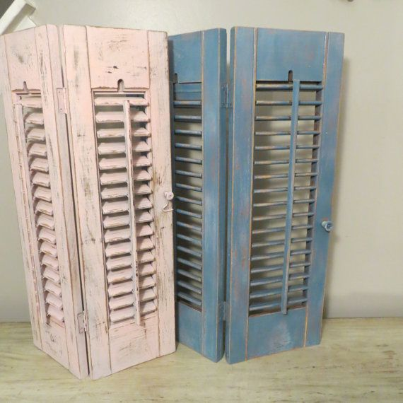 Vintage Wooden Louvered Light Blue Shutters Decorative Interior Wood Window Shutters