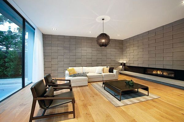 Perfect living room interior in modern decoration with - Interior cinder block wall ideas ...