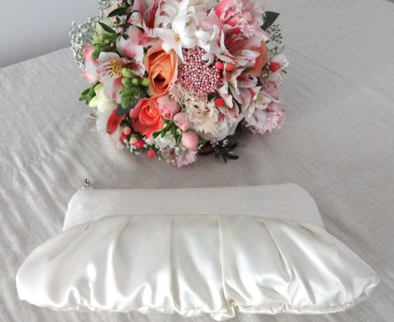 Cream satin linen wedding clutch  - dreamy and glam! by maplemist