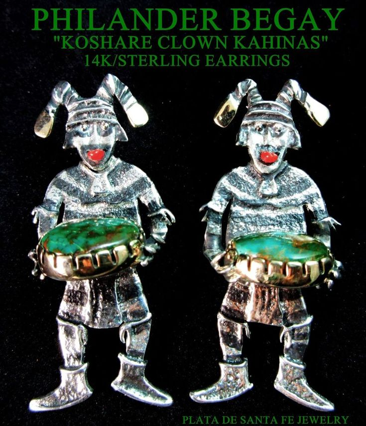 PHILANDER BEGAY~OOAK~Tufa Cast~KOSHARE KACHINA CLOWN~14k/925~Royston Earrings #PHILANDERBEGAY