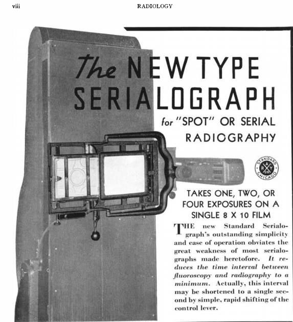 From December 1938 Radiology (RSNA Journal). This device could take radiographs in rapid sequence. Made by Chicago's Standard X-ray Co.
