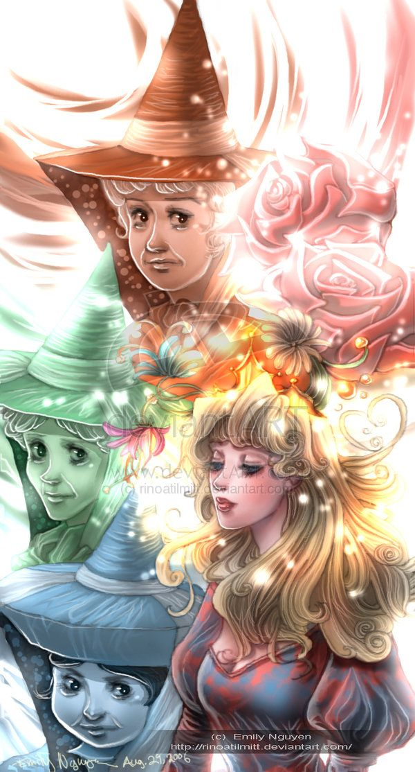 "Sleeping Beauty and Faeries by emilynguyenart.deviantart.com on @deviantART - The fairies were my favourite part of ""Sleeping Beauty"" - just perfect Disney comic gold!"