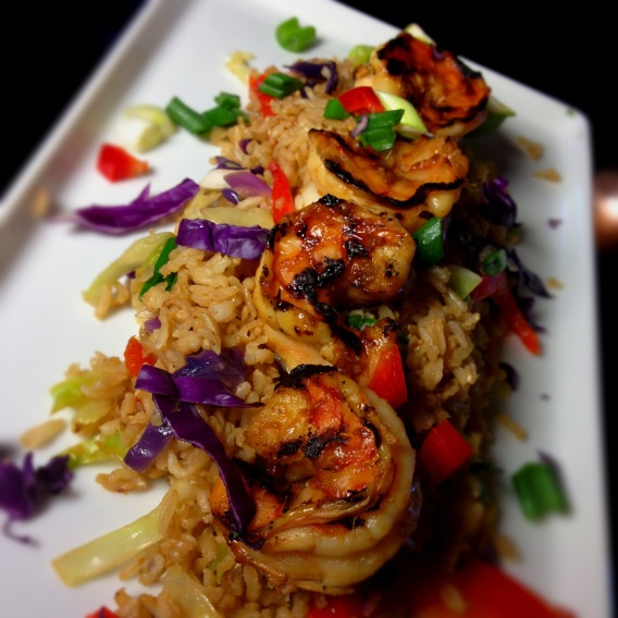 Grilled Shrimp & Fried Brown Rice in Homemade Spicy Teriyaki Sauce