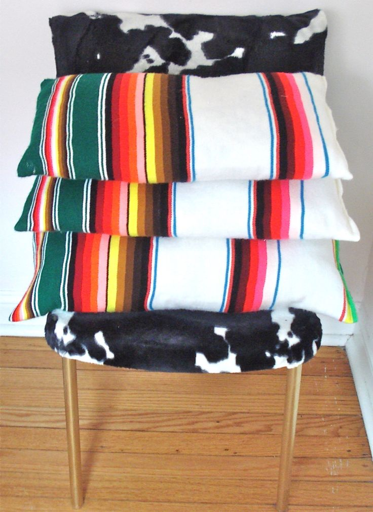 Pillows handmade from a Mexican blanket
