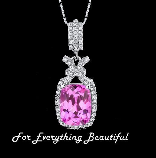 Pink Sapphire Cushion Cut Cubic Zirconia Tied Knot Sterling Silver Pendant