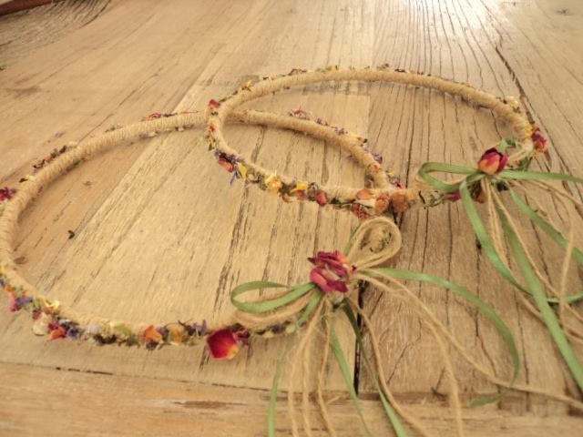 Greek orthodox handmade wedding crowns, with burlap, exotic flower tea and dried rose petals.