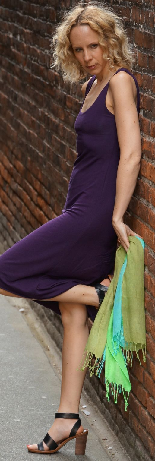 Deep Plum Bamboo Dress from SQUEEZED YOGA CLOTHING http://squeezed.ca/shop/plum-bamboo-a-line-dress-with-diva-crown