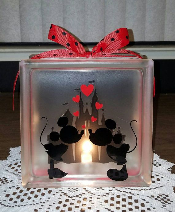 Mickey and Minnie Mouse Kissing Lighted Glass Block Nightlight