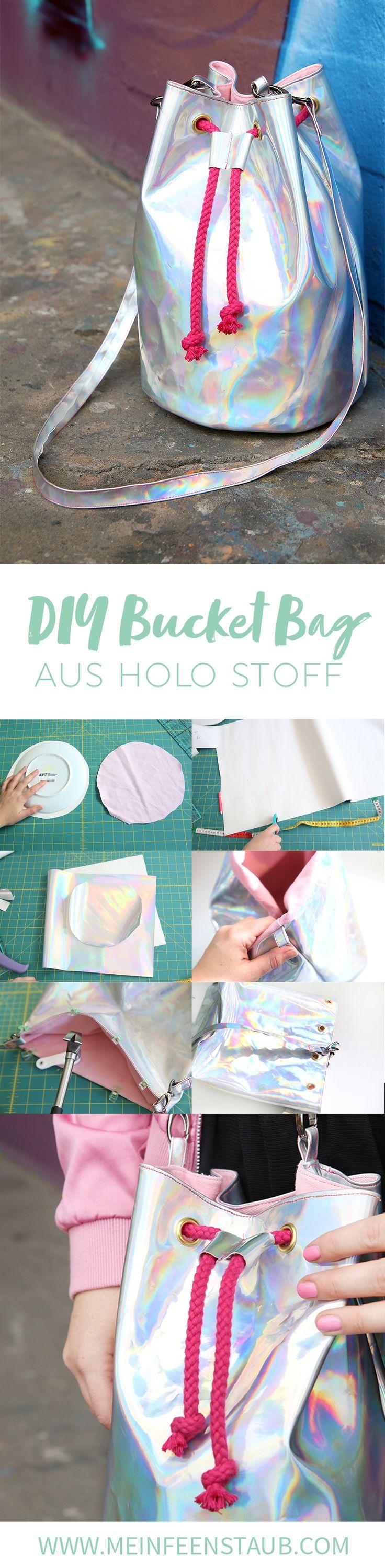 DIY Tutorial Bucket Bag nähen ohne Schnittmuster schicke Bucket Bag mit Futter selbernähen