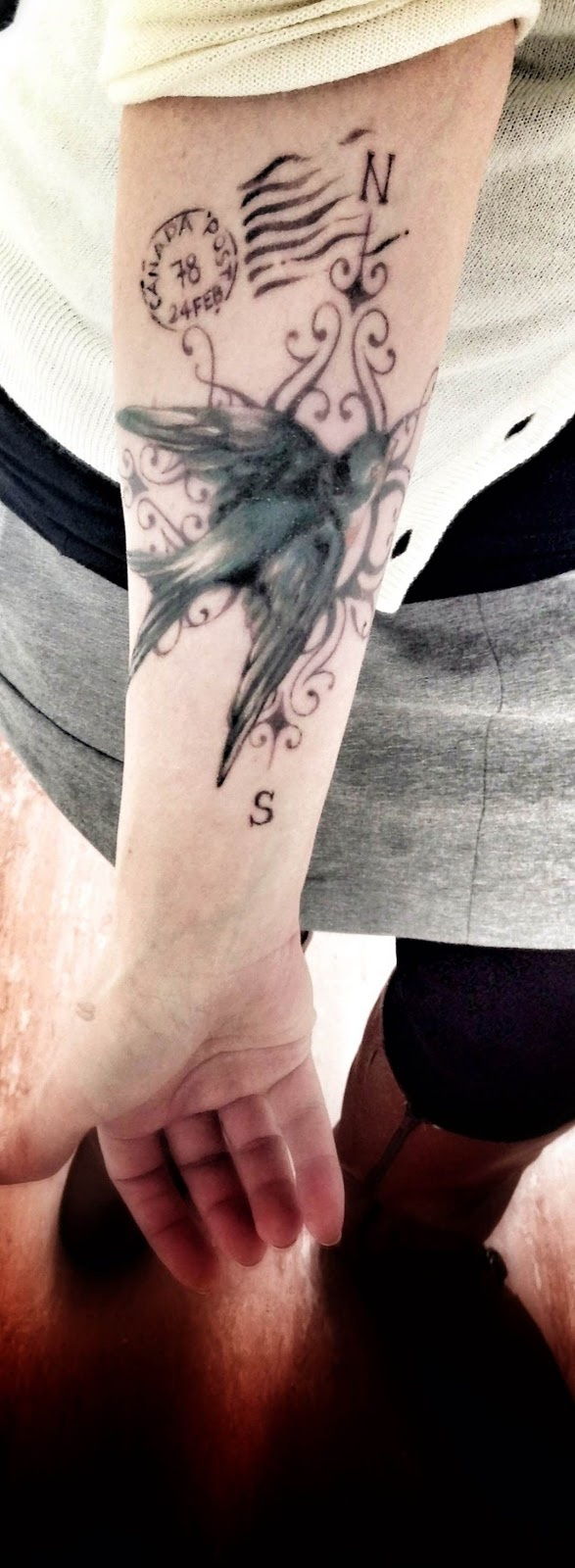 Victorian Sparrow Compass Traveler Tattoo! ideas in case she ever wanted to