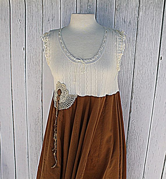 Women's Dress / Vintage Upcycled Clothes / Babydoll / Rustic Farmhouse / Praire Chic on Etsy, $67.00