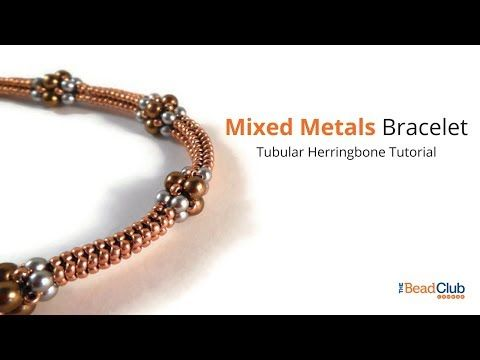 Mixed Metals Bracelet- A Tubular Herringbone Stitch Tutorial - YouTube