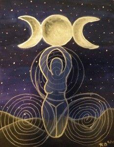 La diosa, mujer y poderosa. La madre tierra, la triple diosa. Ella que se parece a nosotras y que La sentimos latir en nuestros úteros cada día.