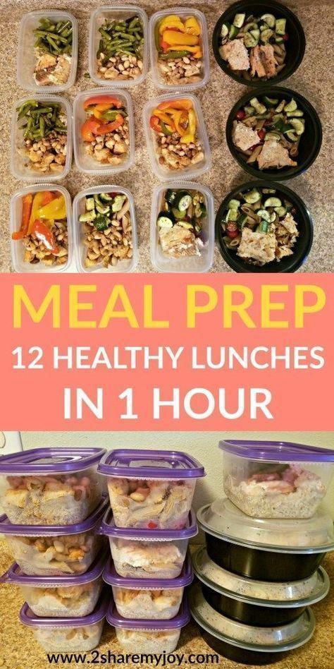Meal Prep: 12 healthy lunches in 1 hour. Make these healthy clean eating meal prep recipes in 1 hour and have lunch ready for the week. You can put them in the freezer, they are great for weight loss (400 calorie lunch), for bodybuilding, to save time, an #Cleaneatingchicken