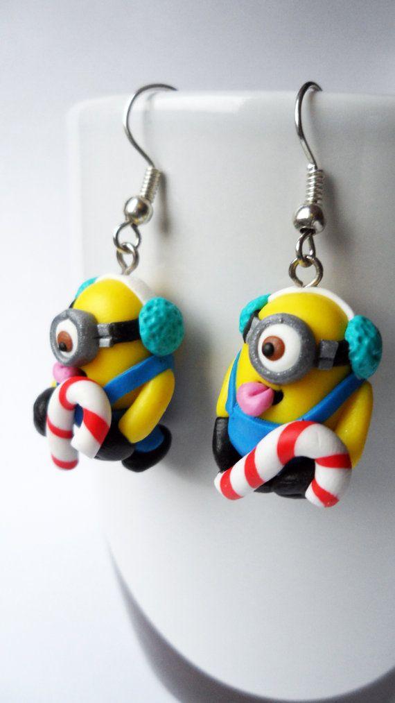 Xmas Minions earrings by Velwoo on Etsy, $16.50