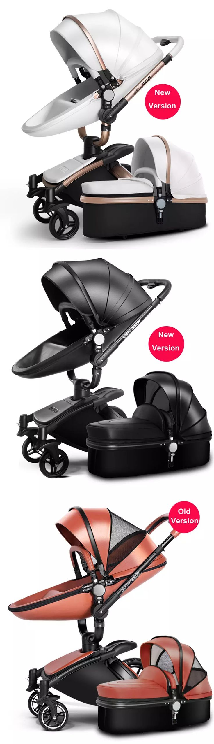 2017 luxury pu leather 3 in 1 baby stroller pram pushchair sleeping basket car seat 360 rotation suspension bidirectional baby trolley from