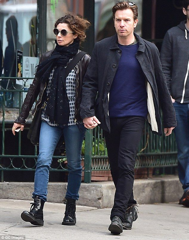 Loving couple: Ewan McGregor and his wife Eve Mavrakis were seen on a romantic stroll through New York City's Tribeca neighbourhood on Tuesday