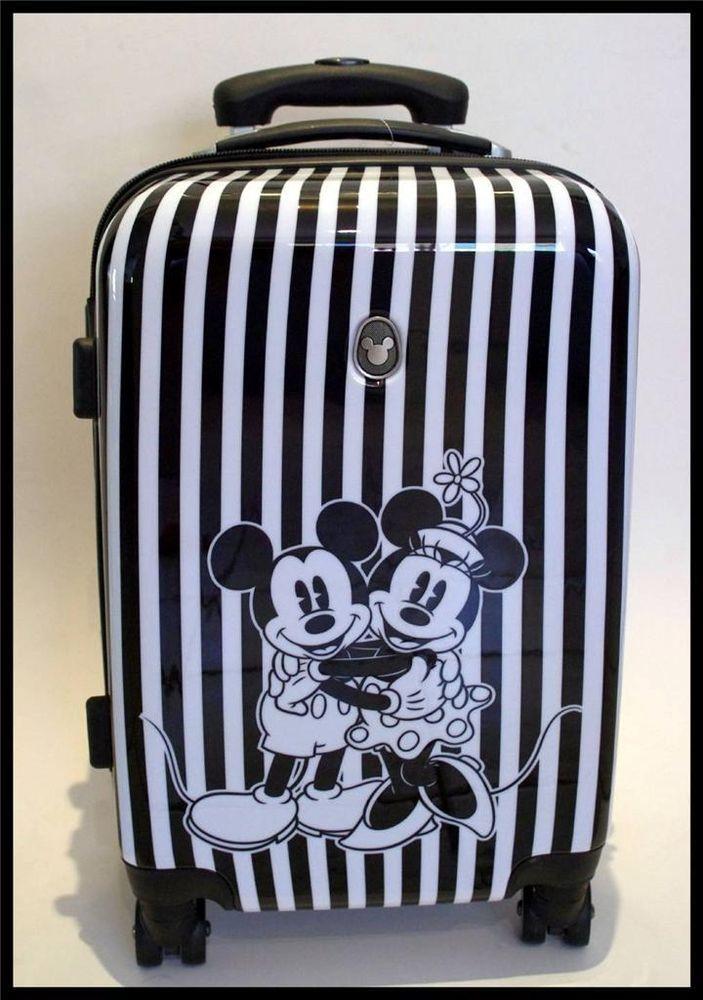 Disney Mickey Minnie Stripe Trolley Wheels Hard Suitcase TSA Lock + FREE Bag Tag