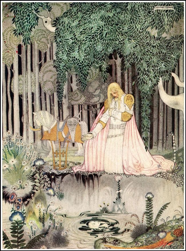 Kay Nielsen's Stunning 1914 Illustrations of Scandinavian Fairy Tales - East of the Sun and West of the Moon: Old Tales from the North - 'He Saw Her Reflection in the Water'| Brain Pickings