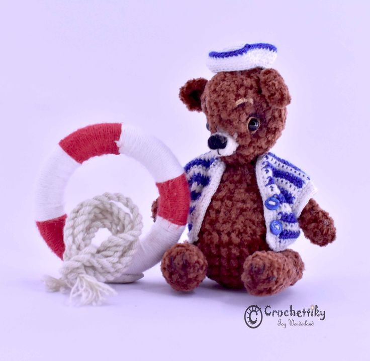 He's unbelievable cute, you couldn't release it from your hands) He has paws and a head on split pins, so it's easy to change his poses. He's only 10 cm high. Pocket size, isn't it? He would love to travel! Who wants to make a bear company and go with him to an amazing journey?  Teddy bear sailor  Yarn: cotton, chenille.  Fill: non-allergenic, polyester fiberfill.  Size: approx 10 cm high. Head and paws are on split pins. Glass eyes. $45  Shipping is available. Please contact Natali at…
