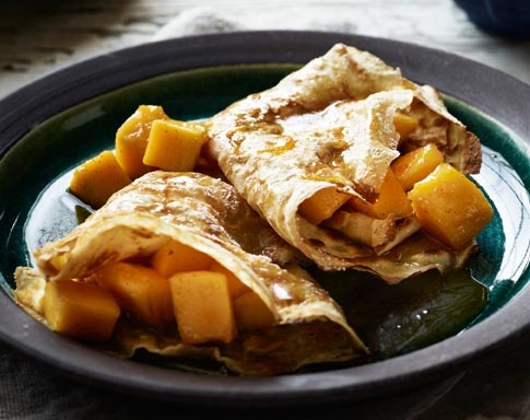 Armagnac and Mango Crepes! Recipe by Tobie Puttock for Australian Mangoes. Check out the recipe at http://www.mangoes.net.au/enjoy/tobieputtock.aspx